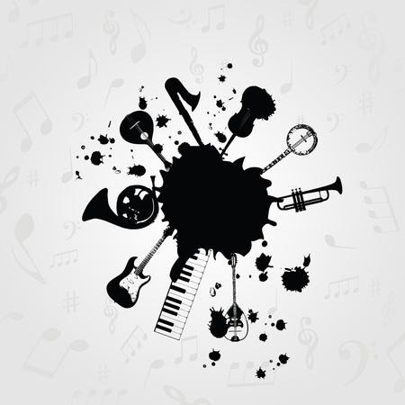 楽器を持つ黒と白のしみ。楽器カード、ポスター、招待状のデザイン。音楽背景デザイン ベクトル イラスト