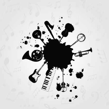 Black and white blot with music instruments. Music instruments design for card, poster, invitation. Music background design vector illustration