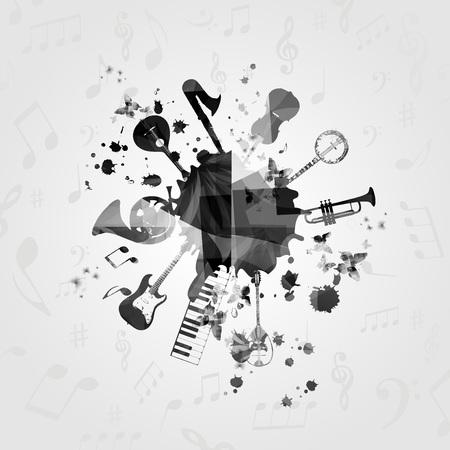 흑백 음악 악기와 오 점. 카드, 포스터, 초대장을위한 음악 악기 디자인. 음악 배경 디자인 벡터 일러스트 레이션