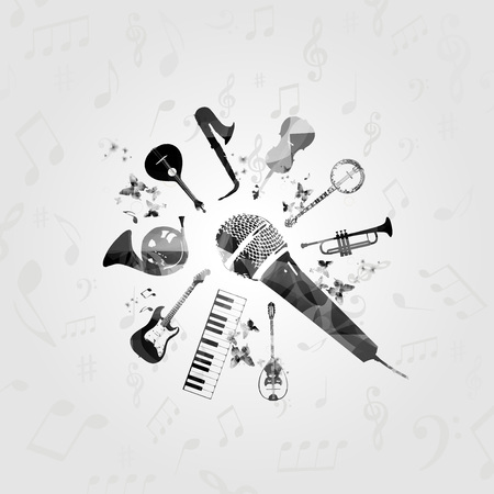 Black and white microphone with music instruments vector illustration. Guitar, microphone, piano keyboard, french horn, saxophone, trumpet, violoncello, banjo, Portuguese guitar, bouzouki background