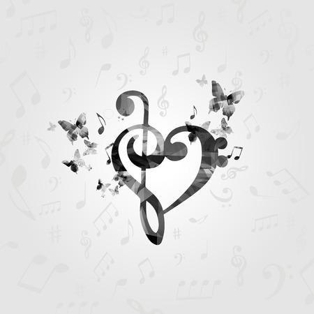 Black and white G-clef heart with music notes. Music poster with music notes. Music elements design for card, poster, invitation. Vettoriali