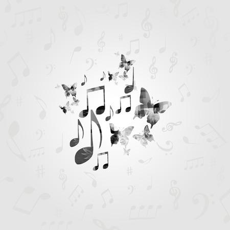 黒と白の音楽ノートとポスター。音楽の要素は、カード、ポスター、招待状のデザインします。  イラスト・ベクター素材