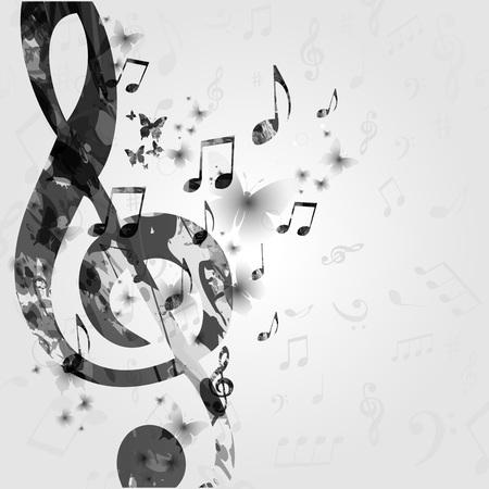 黒と白の音楽ノートとポスター。音楽の要素は、カード、ポスター、招待状のデザインします。音楽背景ベクトル イラスト