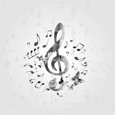 黒と白の音楽ノートとポスター。音楽の要素は、カード、ポスター、招待状のデザインします。音楽背景ベクトル イラスト 写真素材 - 88296821