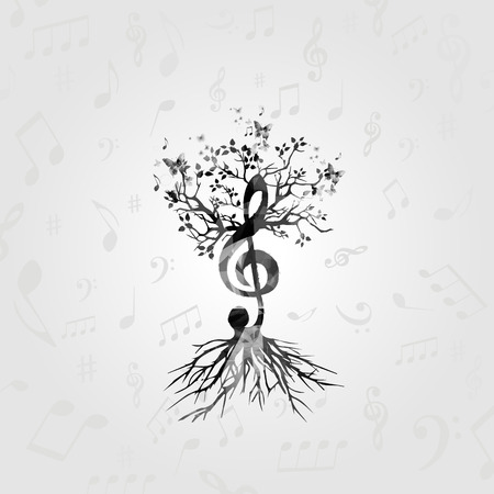 Black and white music poster with G-clef tree. Music elements design for card, poster, invitation. Music background with music notes vector illustration 向量圖像