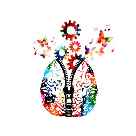 Kleurrijke menselijke hersenen met ritssluiting en toestellen vectorillustratie. Creativiteit en werkconcept, onderwijsachtergrond, brainstormen