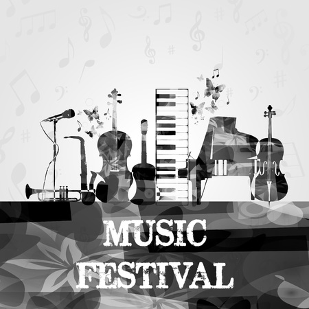 Music poster with music instruments. Black and white microphone, piano, saxophone, trumpet, violoncello, contrabass and guitar isolated vector illustration design