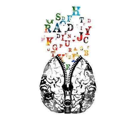 Menselijk brein met rits en kleurrijke alfabet letters vector illustratie. Creativiteitconcept, onderwijsachtergrond