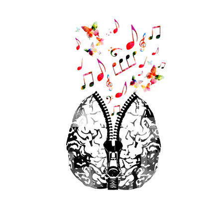 Music poster design with human brain with zipper and colorful music notes. Creativity concept with music notes Stock Illustratie