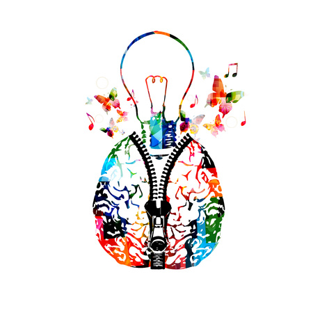Colorful human brain with zipper and light bulb illustration. Creativity concept, education