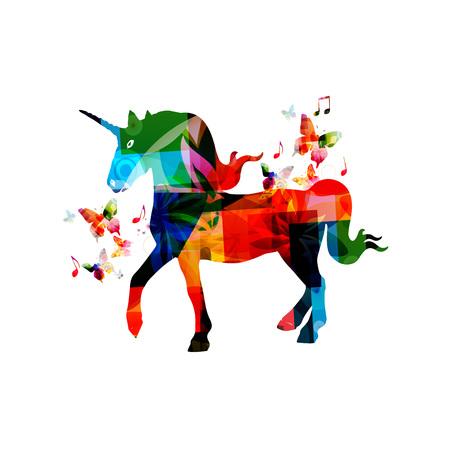나비와 함께 다채로운 유니콘 일러스트 레이션 디자인 일러스트