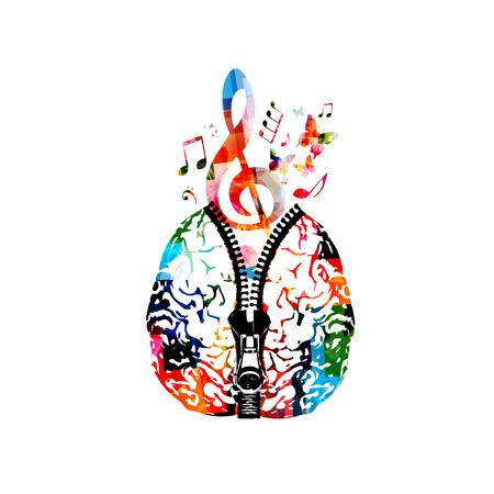Muziek posterontwerp met menselijke hersenen met rits en kleurrijke muziek notities. Creativiteitconcept met muzieknota's