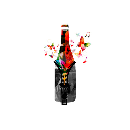 Colorful bottle with zipper isolated vector illustration. Background for restaurant poster, restaurant menu, wine tasting event