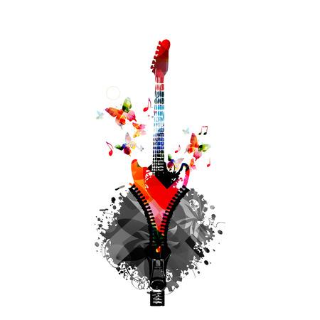 음악 기타와 함께 화려한 디자인입니다. 음악 악기 벡터 일러스트 레이 션. 음악 노트와 지퍼가 달린 기타 악기