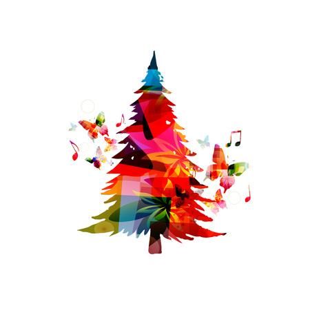 クリスマス ツリーのベクトル図です。幸せな新しい年 2018年カラフルなクリスマス ツリーのデザインの背景