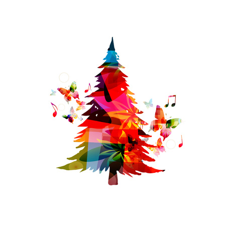 Christmas tree vector illustration. Happy New Year 2018 colorful christmas tree design background