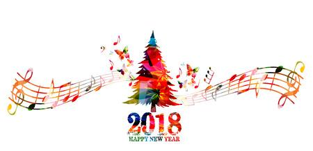 Ilustración de vector de árbol de Navidad Inscripción de feliz año nuevo 2018 con fondo de diseño colorido árbol de Navidad
