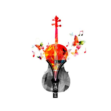 Muziek kleurrijk ontwerp met cello. Muziek instrument vector illustratie. Violoncello-instrument met muzieknoten en rits