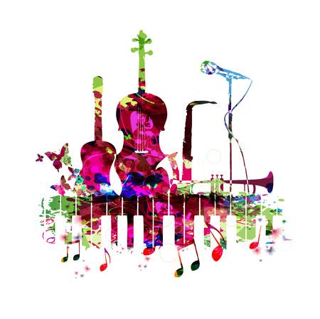 楽器と音楽ポスター ベクトル イラストです。ピアノ、キーボード、ギター、チェロ、サックス、トランペット、マイクとカラフルな音楽の背景。音