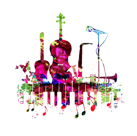 Music poster with music instruments vector illustration. Colorful music background with piano keyboard, guitar, violoncello, saxophone, trumpet and microphone. Music concert poster Illustration