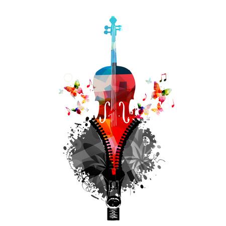 コントラバスの音楽カラフルなデザイン。音楽楽器のベクター イラストです。音符とジッパー コントラバス楽器