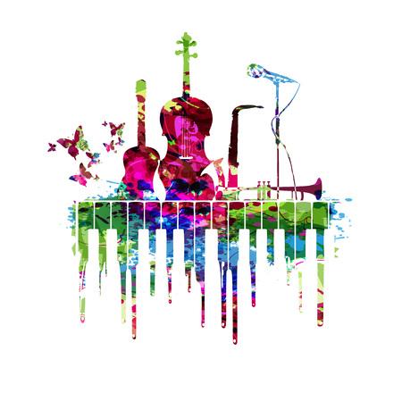 Cartel de la música con la ilustración de vector de instrumentos de música. Fondo colorido de la música con el teclado de piano, la guitarra, el violoncello, el saxofón, la trompeta y el micrófono. Cartel del concierto de música Foto de archivo - 90494056