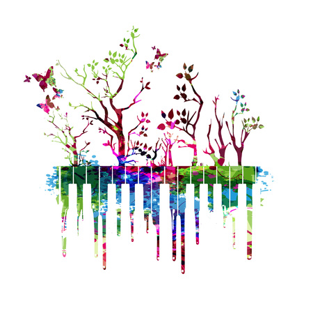 Music colorful design with piano keys. Music instrument vector illustration. Piano keyboard instrument background with trees