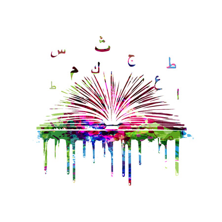Colorful book with Arabic Islamic calligraphy symbols vector illustration. Arabic alphabet text design with open book. Education concept