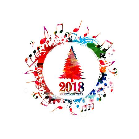 音楽ノートとクリスマスツリーベクトルイラスト。カラフルなクリスマスツリーのデザインの背景を持つハッピーニューイヤー2018碑文  イラスト・ベクター素材