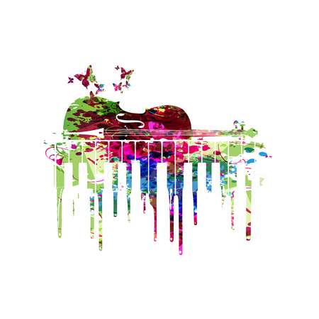 Music colorful design with contrabass. Music instrument vector illustration. Contrabass instrument background