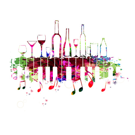Music colorful design with piano keys and bottles. Music instrument vector illustration. Piano keyboard instrument background with bottles for restaurant poster, restaurant menu, wine tasting event Çizim