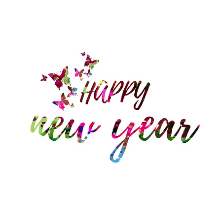 Happy New Year colorful handwritten inscription isolated. Happy New Year calligraphy vector illustration. Happy New Year phrase lettering 일러스트