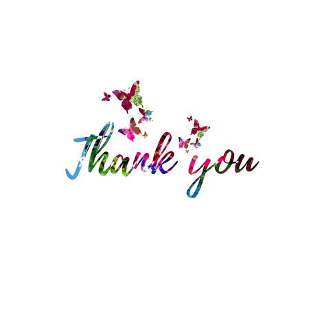 Dank u kleurrijke handgeschreven inscriptie geïsoleerd. Dank u kalligrafie vectorillustratie. Dank u zin belettering