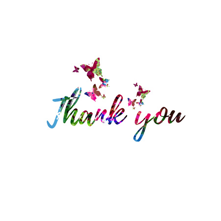 Thank You colorful handwritten inscription isolated. Thank You calligraphy vector illustration. Thank You phrase lettering