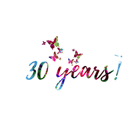 30 Years colorful handwritten inscription isolated. 30 Years calligraphy vector illustration. 30 Years phrase lettering