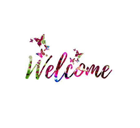 환영하는 다채로운 필기 비문을 환영합니다. 달필 벡터 일러스트를 환영하십시오. 환영 문구 레터링 일러스트