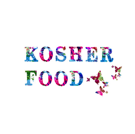 Kosher food - Jewish food colorful inscription isolated. Kosher food phrase lettering vector illustration