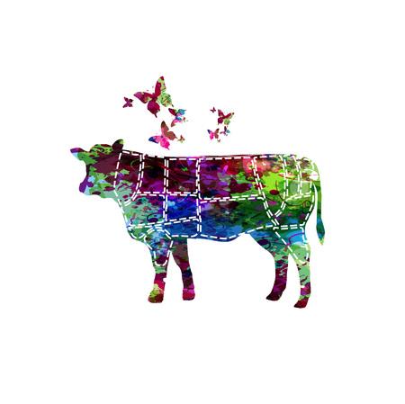 Vlees bezuinigingen. Diagrammen voor slagerij. Regeling van rundvlees. Dierlijke silhouet rundvlees geïsoleerde vectorillustratie Stock Illustratie