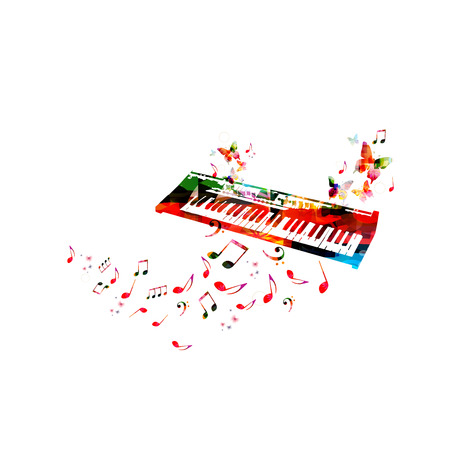 Music poster with colorful piano keyboard and music notes isolated vector illustration design.