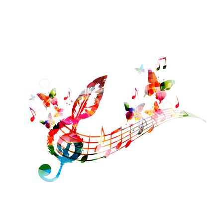 Colorful music poster with music notes. Music elements for card, poster, invitation. Colorful G-clef. Music background design vector illustration Stok Fotoğraf - 93323994