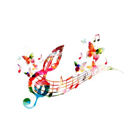 Kleurrijke muziekaffiche met muzieknota's. Muziekelementen voor kaart, poster, uitnodiging. Kleurrijke G-sleutel. Muziek achtergrond ontwerp vectorillustratie Stockfoto - 93323994