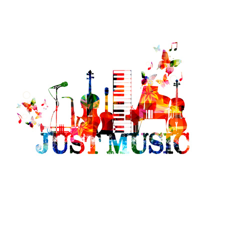 Music poster with music instruments. Colorful piano keyboard, saxophone, trumpet, violoncello, contrabass, guitar and microphone with music notes isolated vector illustration design.