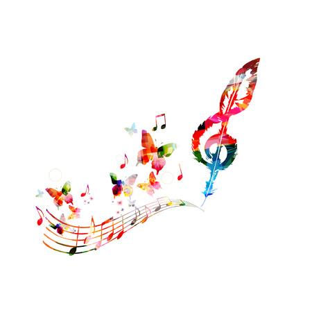 Kleurrijke muziekaffiche met muzieknota's. Muziekelementen voor kaart, poster, uitnodiging. Kleurrijke G-sleutel. Muziek achtergrond ontwerp vectorillustratie