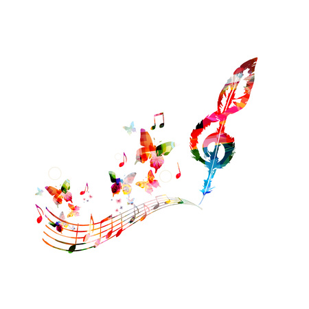 Colorful music poster with music notes. Music elements for card, poster, invitation. Colorful G-clef. Music background design vector illustration