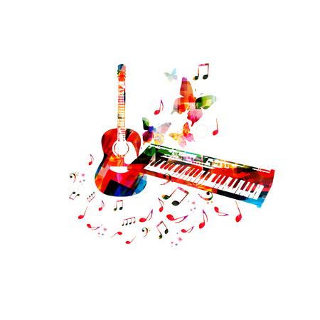 カラフルなピアノキーボード、ギター、音楽ノートを持つ音楽ポスター孤立ベクトルイラストデザイン  イラスト・ベクター素材