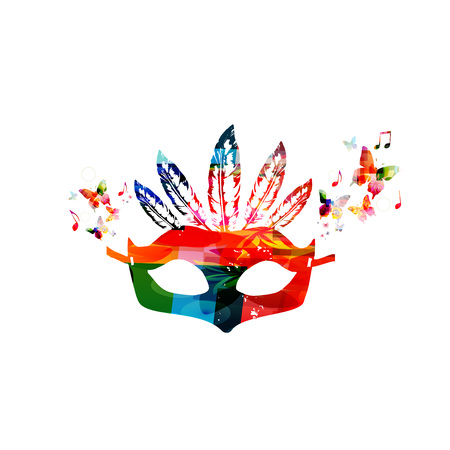 Colorful carnival mask isolated vector illustration