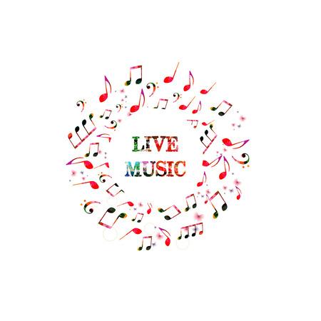 音楽ノートとライブ音楽のためのカラフルなバナー。カード、ポスター、招待状、音楽背景デザインベクトルイラストのための音楽要素。  イラスト・ベクター素材