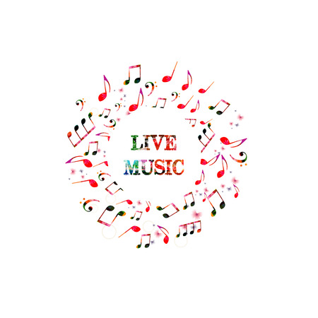 Colorful banner for live music with music notes. Music elements for card, poster, invitation, music background design vector illustration.