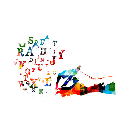 Colorful alphabet letters with pencil isolated vector illustration, creative writing, education background. 일러스트