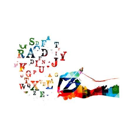 Kolorowe litery alfabetu z ołówkiem na białym tle ilustracji wektorowych, kreatywne pisanie, wykształcenie.